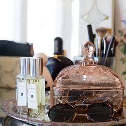 The vanity in the bedroom
