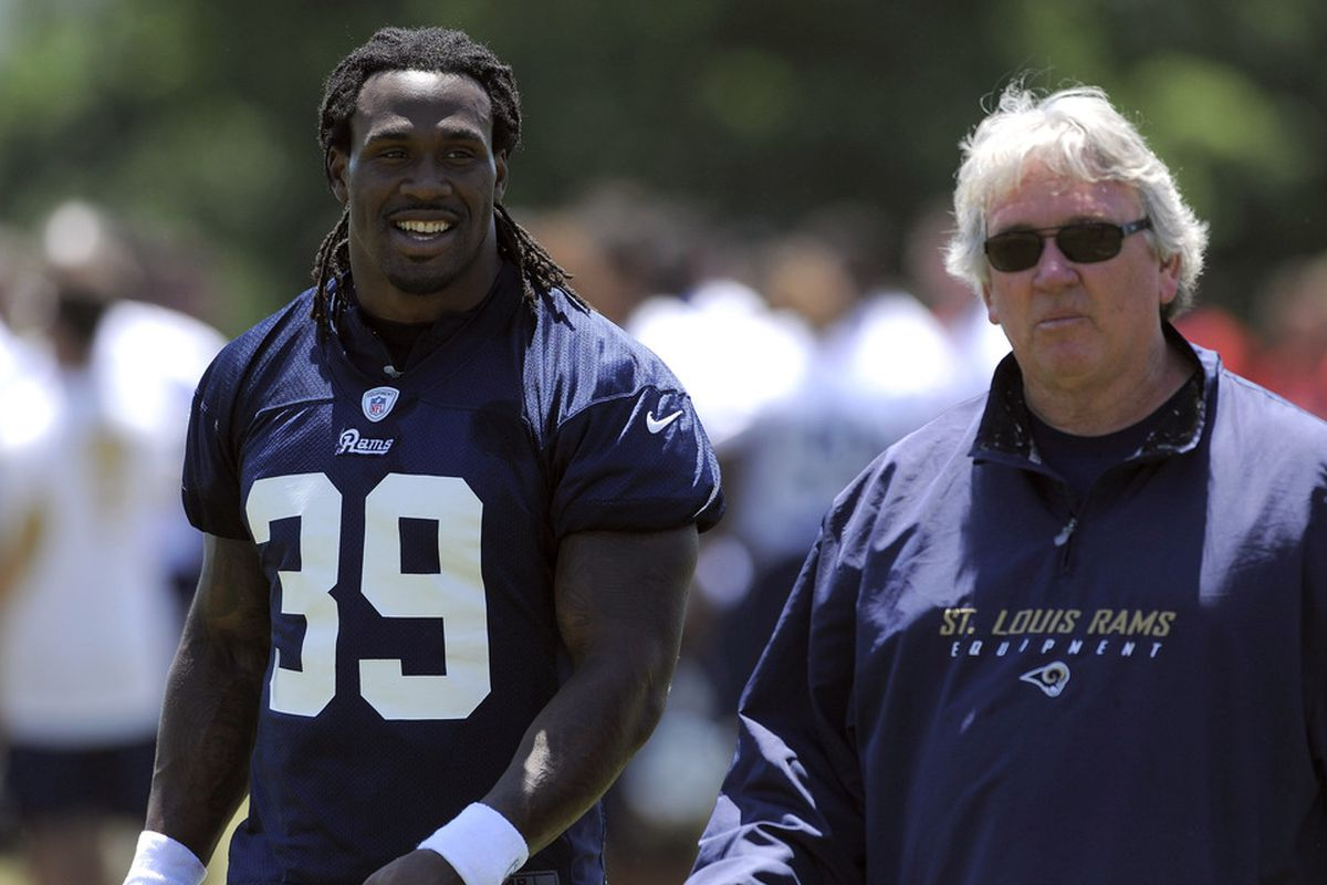 May 23, 2012; St. Louis, MO, USA; St. Louis Rams running back Steven Jackson (39) talks with assistant coach Dave McGinnis during an OTA at ContinuityX Training Center. Mandatory Credit: Jeff Curry-US PRESSWIRE
