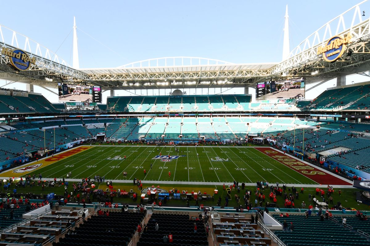 General view of of the stadium prior to the game between the San Francisco 49ers and the Kansas City Chiefs in Super Bowl LIV at Hard Rock Stadium.