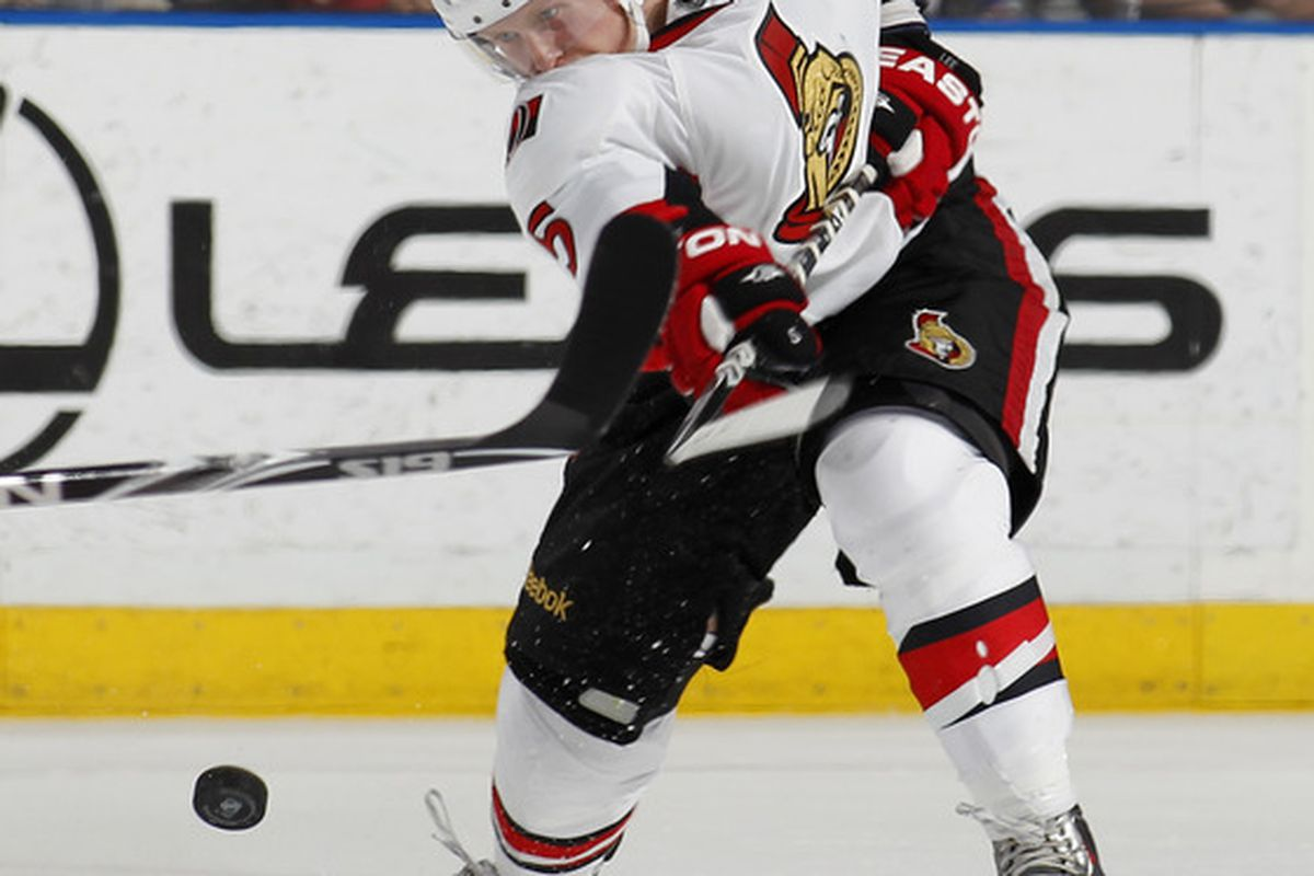 Brian Lee hopes his shot at sticking with the Ottawa Senators is better than, well, his shot. (Photo by Joel Auerbach/Getty Images)