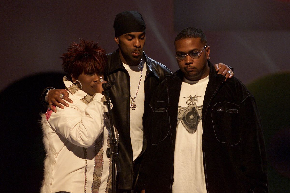 Elliott, Ginuwine, and Timbaland in 2001 (GettyImages)
