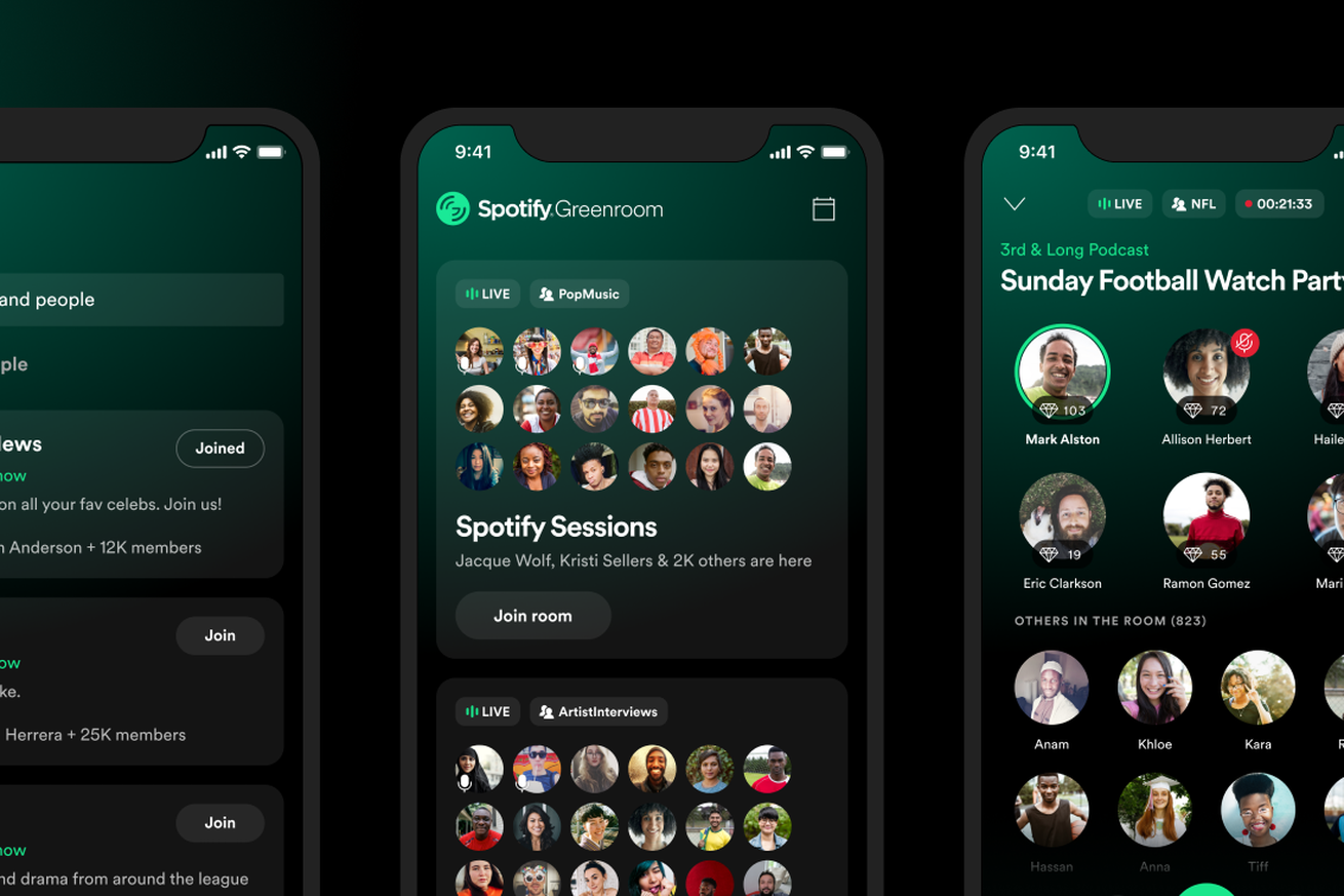 Spotify's Clubhouse competitor Greenroom launches today