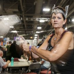 Cheryl Mattson, dressed as Thor, poses for a portrait during the first day of FanX at the Salt Palace Convention Center in Salt Lake City on Thursday, Sept. 5, 2019.