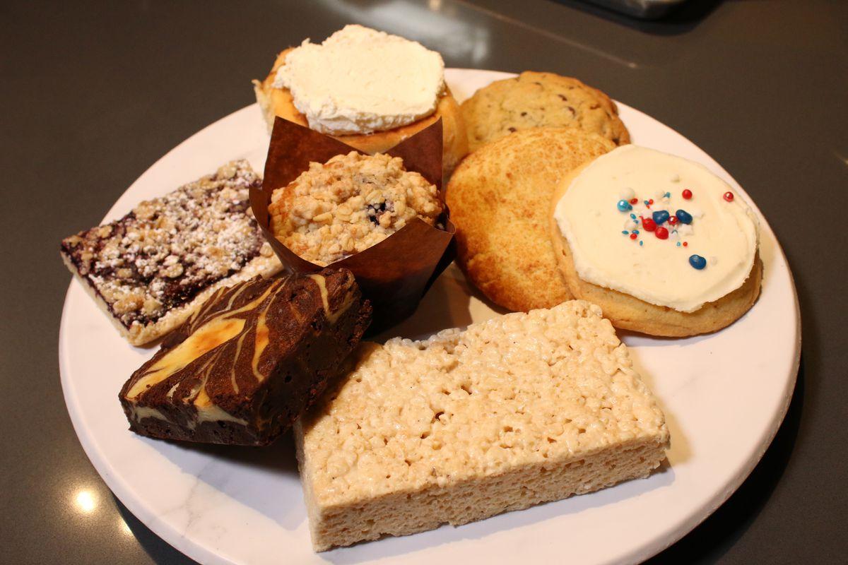 Pastries baked daily at Blackberry Market in La Grange. Brownies, cookies, muffins, Rice Krispie treats, and cinnamon rolls.