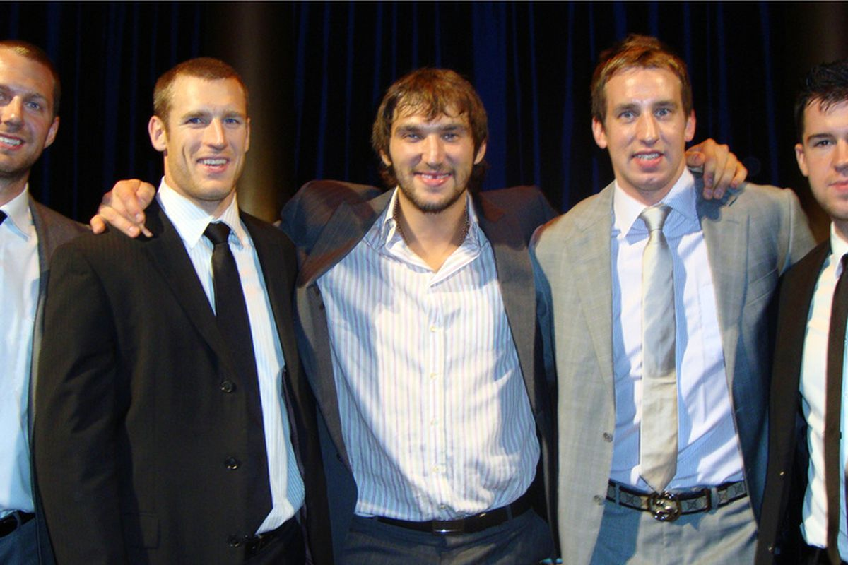 L to R: Eric Fehr, Brooks Laich, Alex Ovechkin, Shaone Morrisonn and Mike Green at Sneaker Ball IV (photo: Washington Capitals)