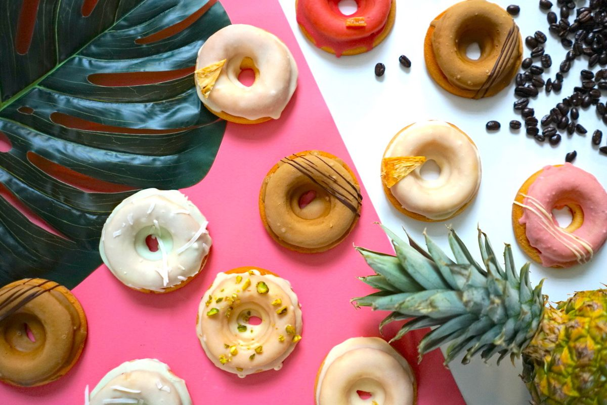 An array of colorful mochi doughnuts from Third Culture Bakery