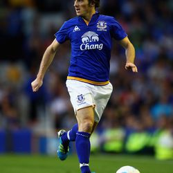 Leighton Baines of Everton in action during the pre season friendly match between Everton and Villarreal at Goodison Park on August 5, 2011 in Liverpool, England.