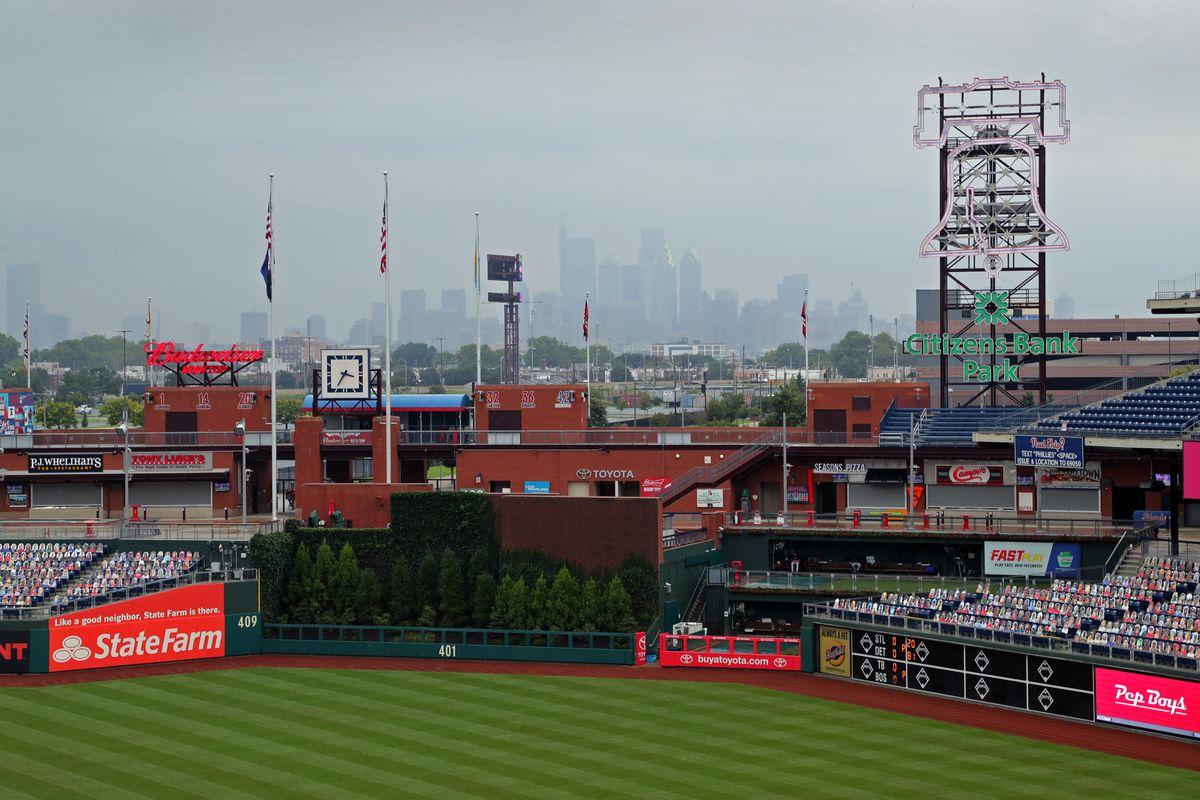 A view of centerfield and the skyline of  Philly during a game at Citizens Bank Park