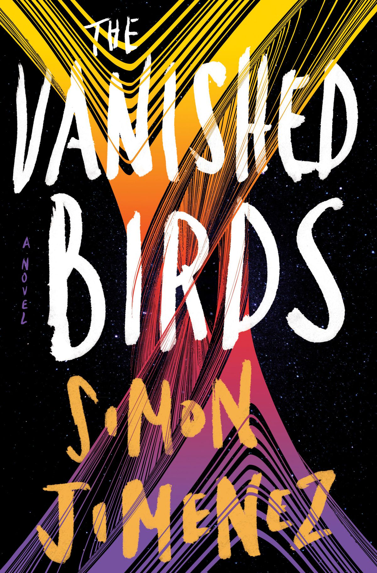 The Vanished Birds by Simon Jimenez cover has some multicolor stripes