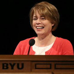 Sister Sharon Eubank, first counselor in the LDS Church's Relief Society general presidency, speaks at the BYU Women's Conference in the Marriott Center at BYU in Provo on Friday, May 5, 2017.