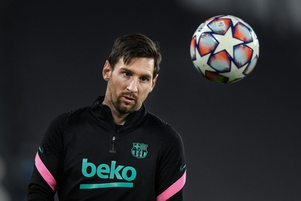 Lionel Messi of Barcelona warms up during the UEFA Champions...