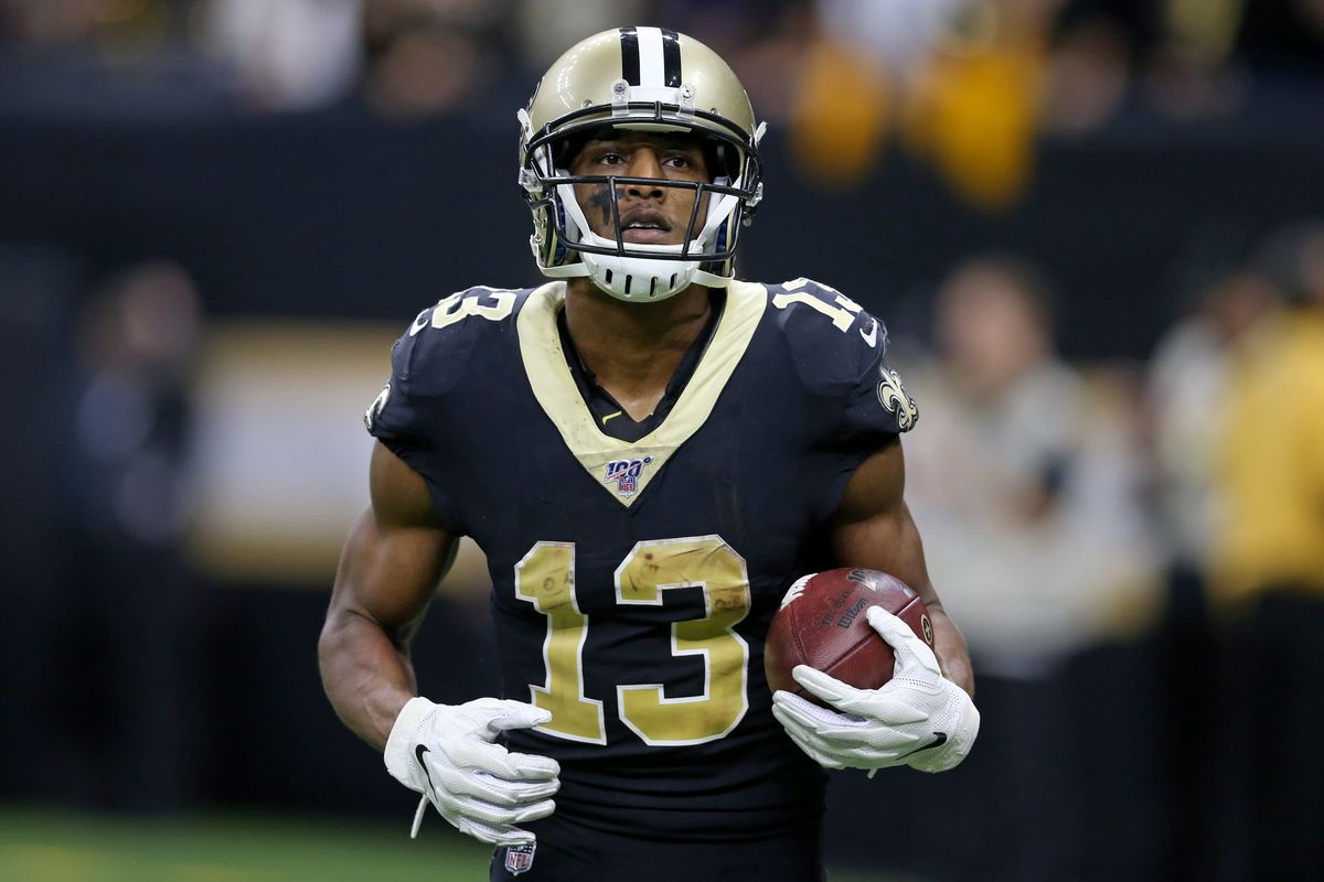 New Orleans Saints wide receiver Michael Thomas runs off the field after a touchdown catch in the second half against the San Francisco 49ers at the Mercedes-Benz Superdome.