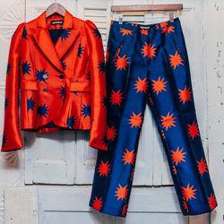 "<b>House of Holland</b> Starbust Tailored Jacket, <a href=""http://www.internationalplayground.com/women/outerwear/house-of-holland-starburst-tailored-jacket.html"">$455</a>. <b>House of Holland</b> Starburst Tailored Trouser, <a href=""http://www.internatio"