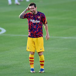 Messi was back at work and all smiles in the warm-up