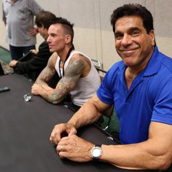 """Lou Ferrigno, who plays the Hulk in """"The Incredible Hulk,"""" waits to talk to media during a press conference at Utah's first Comic Con at the Salt Palace Convention Center in Salt Lake City on Thursday, Sept. 5, 2013."""