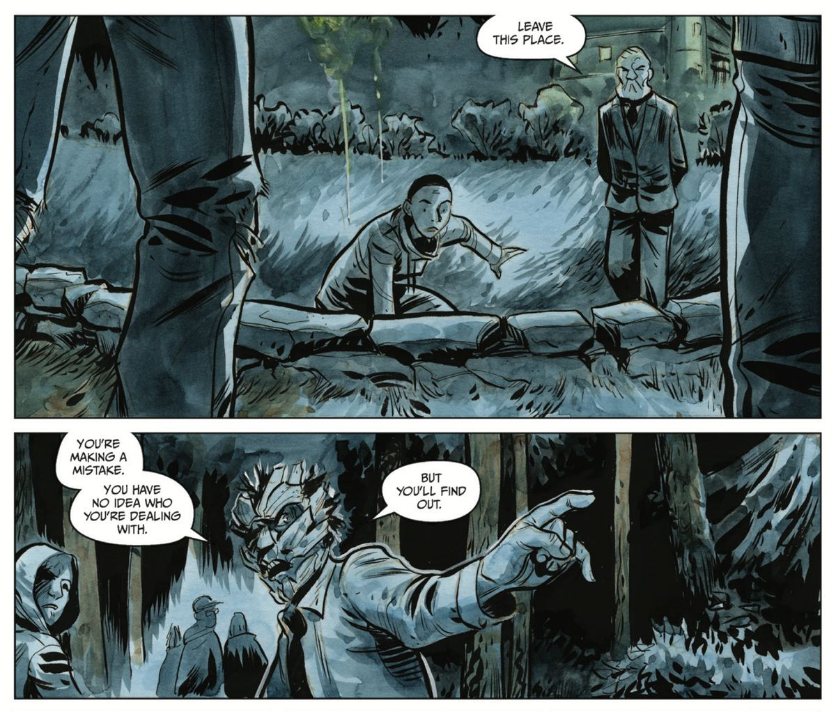 A mysterious arcane expert protects Ari from magically augmented pursuers in Manor Black #1, Dark Horse Comics (2019).