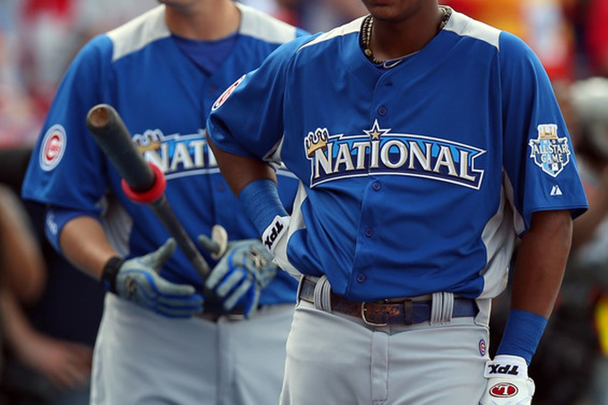 National League All-Stars Starlin Castro and Bryan LaHair of the Chicago Cubs during the Gatorade All-Star Workout Day at Kauffman Stadium in Kansas City, Missouri.  (Photo by Jonathan Daniel/Getty Images)