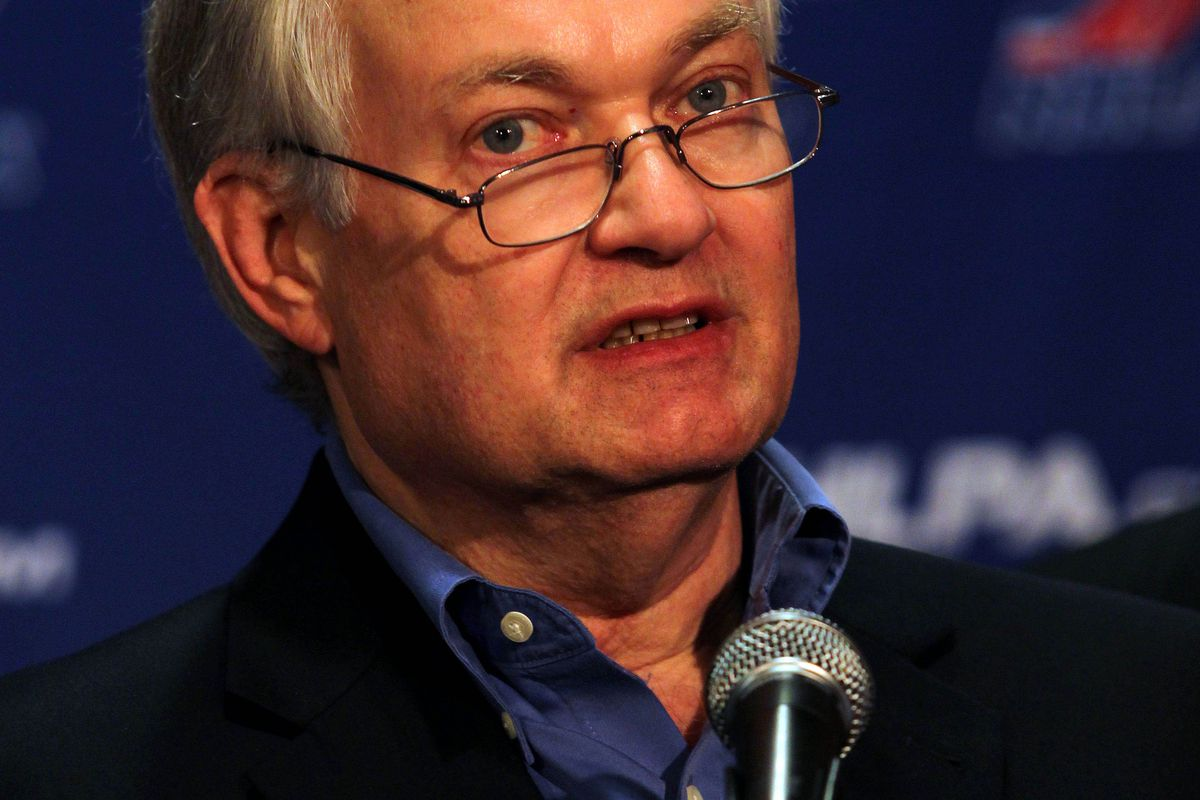 September 12, 2012; New York, NY, USA; NHLPA executive director Don Fehr during a press conference at the 2012 NHLPA summer player meetings at the Marriott Marquis. Mandatory Credit: Brad Penner-US PRESSWIRE