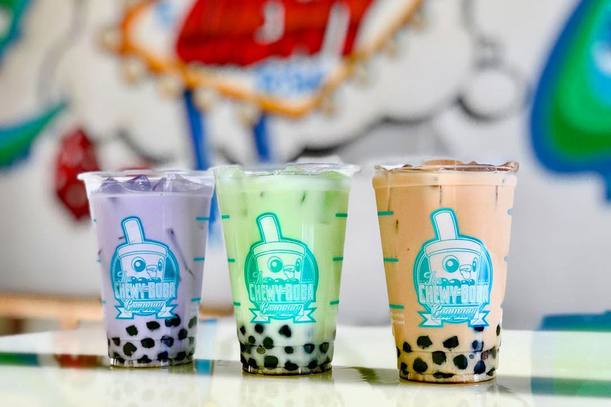A trio of flavored boba drinks, on the Maryland Parkway menu at Chewy Boba.