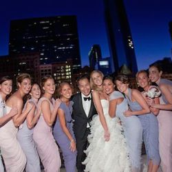 """""""Phillip Lim custom made the bridesmaids' dresses for this wedding, and I just loved how the colors he chose turned them into walking decor. They looked like a beautiful living bouquet of flowers surrounding the bride."""""""