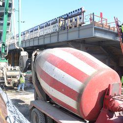 3:36 p.m. Concrete transfer equipment being set up on Waveland -
