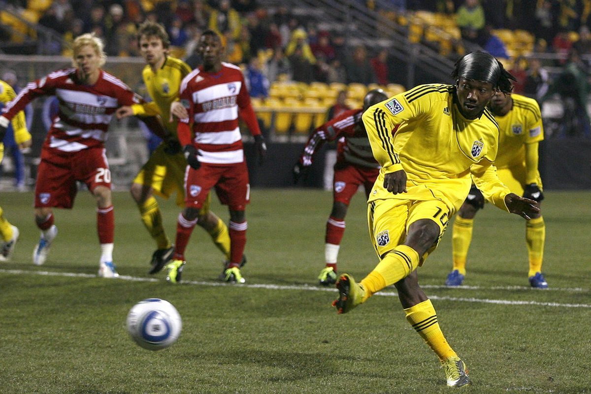 COLUMBUS, OH - APRIL 01:  Andres Mendoza #10 of the Columbus Crew scores a goal on a penalty kick against FC Dallas at Crew Stadium on April 1, 2011 in Columbus, Ohio.  (Photo by Matt Sullivan/Getty Images)