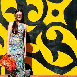 "Marta of <a href=""http://www.itssuperfashion.com""target=""_blank"">It's Super Fashion</a> is wearing a Mara Hoffman dress, Carlo Pazolini shoes and Karen Walker sunglasses."