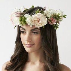 """A delicate lace veil will only get snagged in your succulent bouquet. Opt for a flower crown by Philly florist <a href=""""www.sullivanowen.com/"""">Sullivan Owen</a>, $125. (Image credit: <a href=""""http://blogs.phillymag.com/bridal_bulletin/2013/02/12/love-fre"""