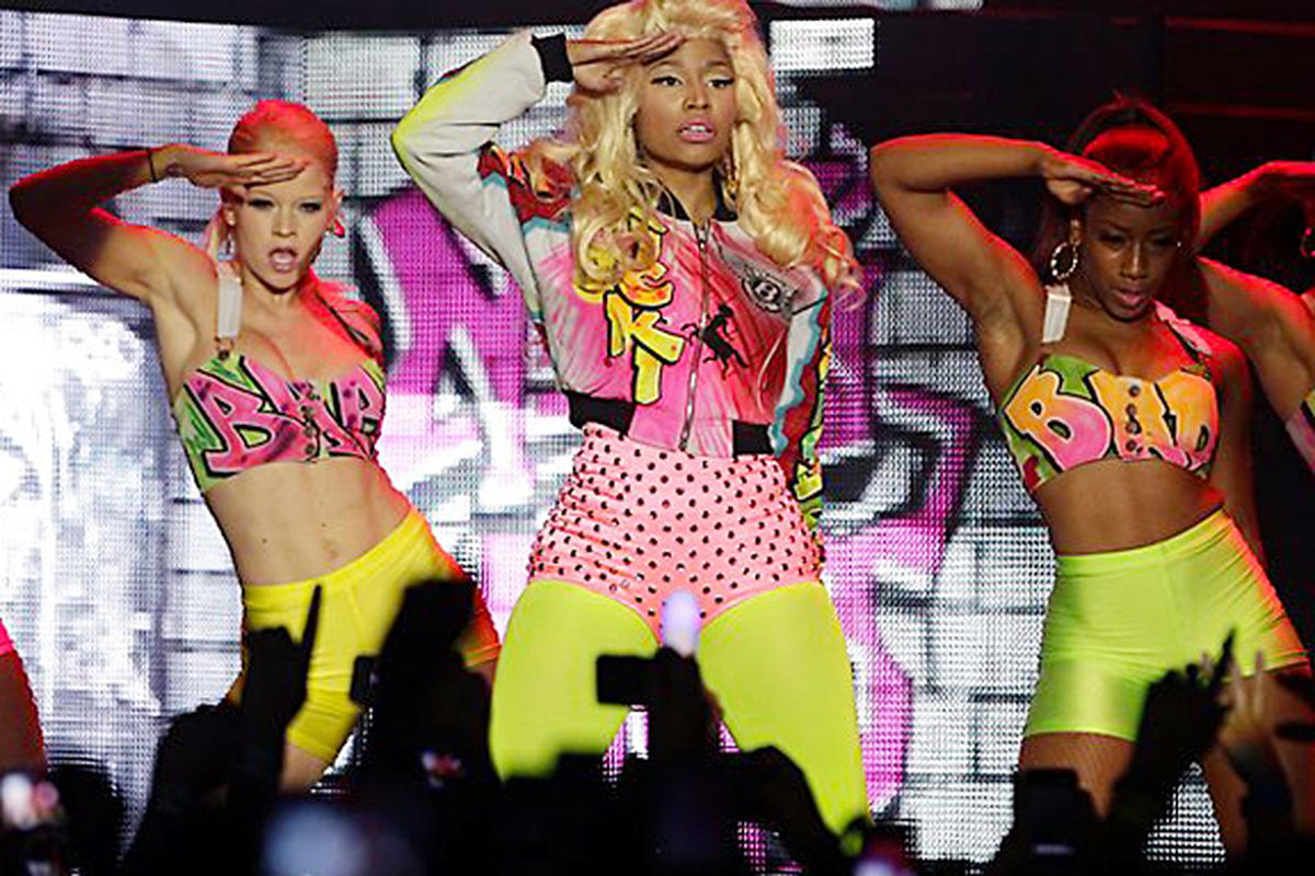 Nicki Minaj kicked off her Pink Friday tour in Sydney, Australia, last week with Jeremy Scott-designed costumes and, strangely, no pink hair. Image via @ItsJeremyScott Twitter/MyPinkFriday.com