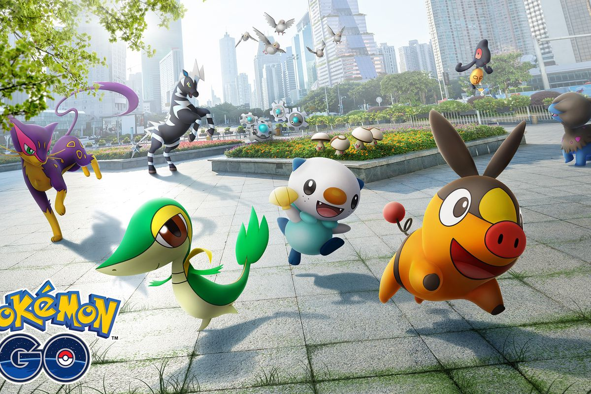 Artwork of Gen 5 Unova Pokémon, including Snivy, Tepig, and Oshawott, appearing in a park setting.