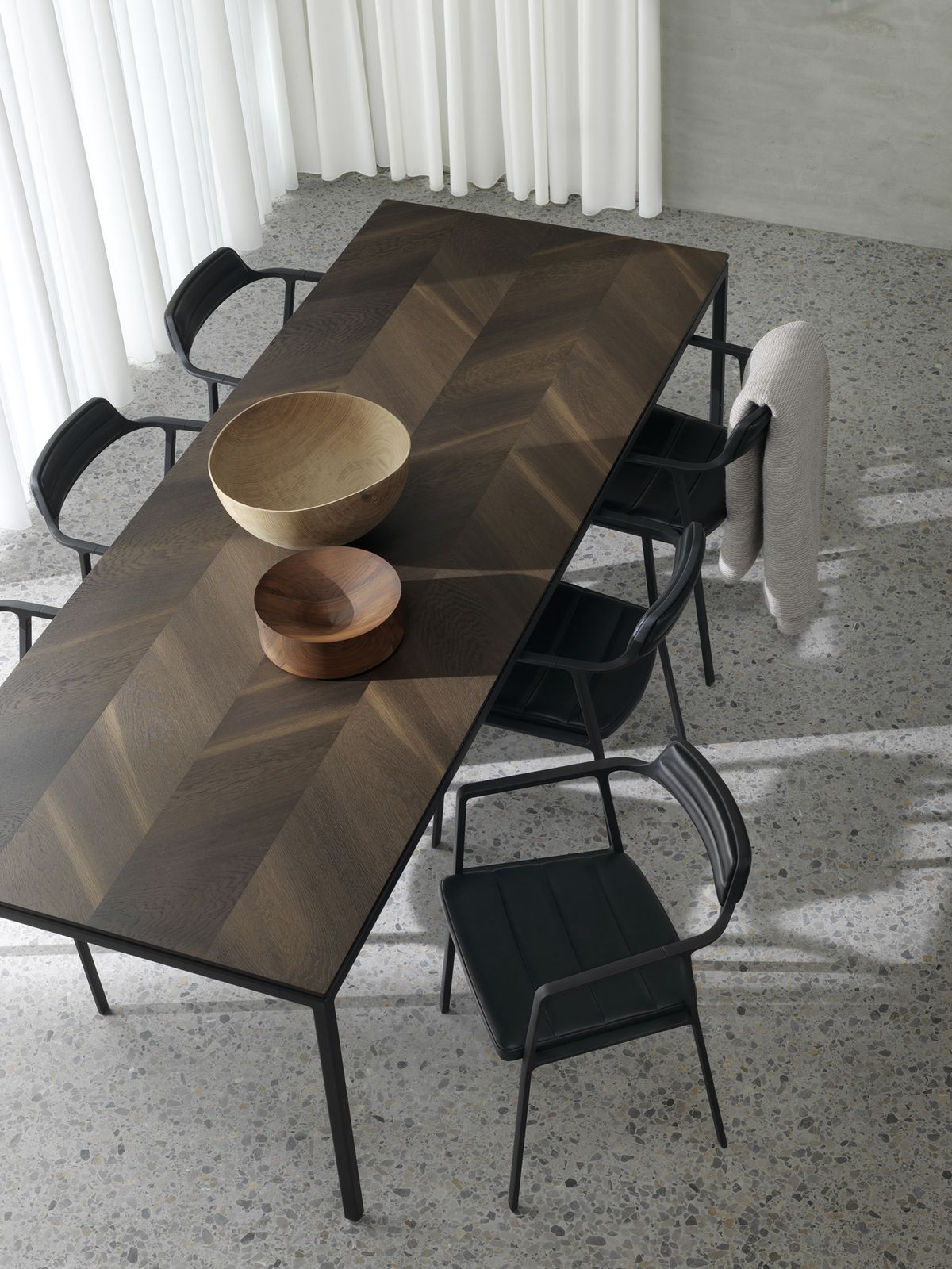 Chairs around dining table