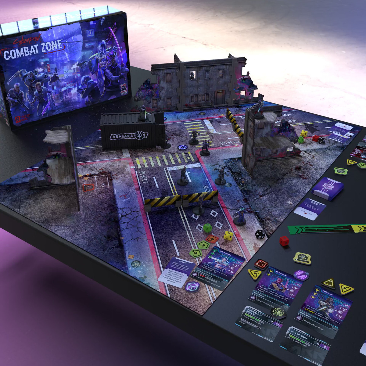 The bits, including cards, dice, and scenery, for Combat Zone laid out for play.