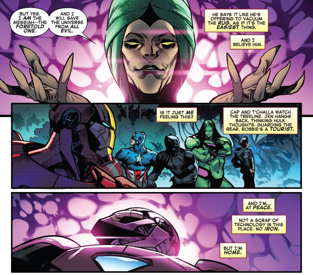 The celestial messiah Sequoia speaks to the Avengers on the Blue Area of the moon, and Iron Man finds it oddly soothing, in Avengers Empyre #0, Marvel Comics (2020).