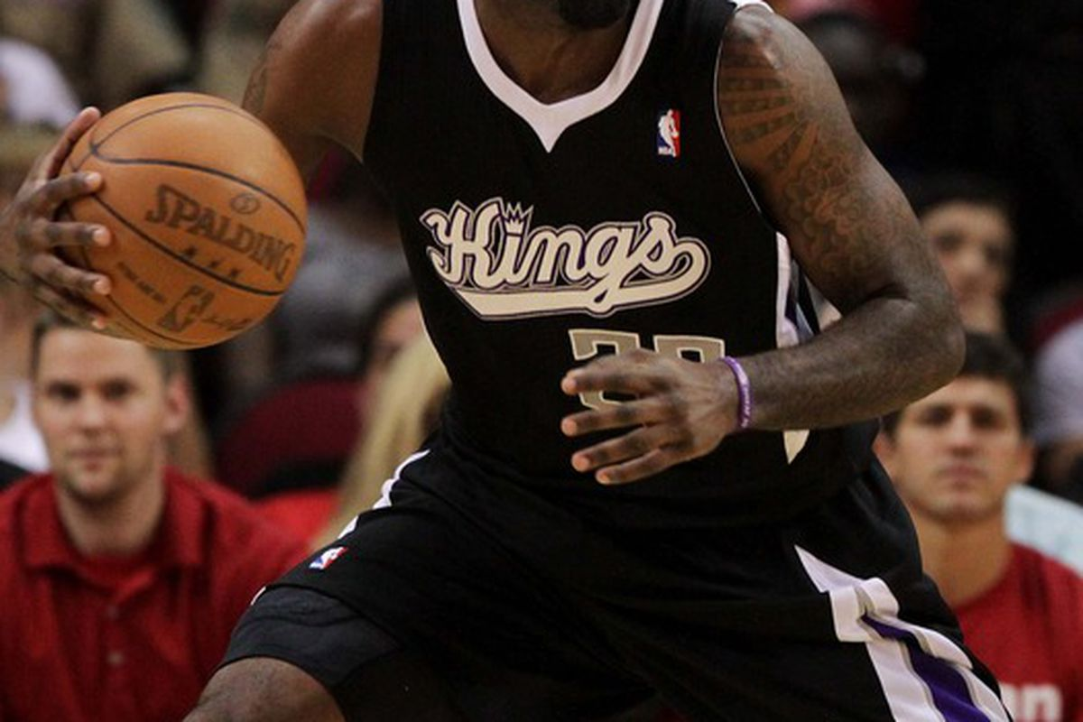 March 26, 2012; Houston, TX, USA;  Sacramento Kings forward Donte Greene (20) controls the ball in the first quarter against the Houston Rockets at Toyota Center. Mandatory Credit: Troy Taormina-US PRESSWIRE