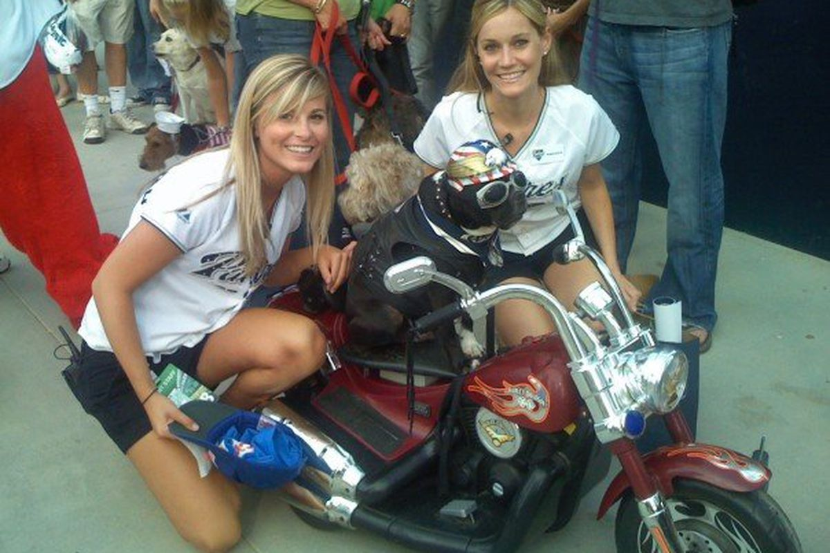 Pad Squad Amanda hanging with the weird motorcycle riding dog that was always hanging at the ballpark (R.I.P.)