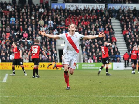 Captain Dean Hammond scores the winner against Bournemouth in the last league meeting. (Southampton FC Official Website)