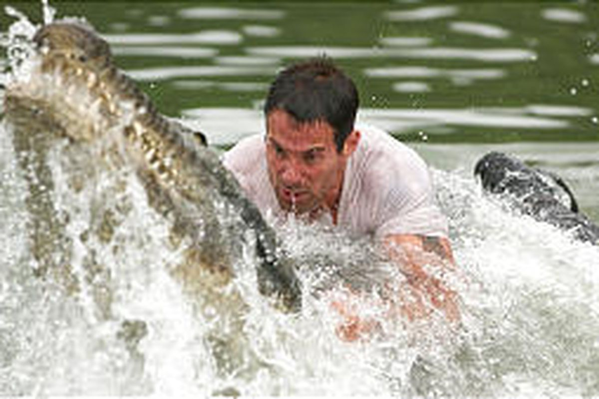 """Johnny Messner is all wet as Capt. Bill Johnson in """"Anacondas: The Hunt for the Blood Orchid."""""""
