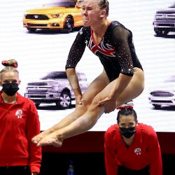 Utah's Maile O'Keefe performs on the floor as Utah and Washington compete in an NCAA gymnastics meet at the Huntsman Center in Salt Lake City on Saturday, Jan. 30, 2021. No. 4 Utah won 197.475 to 193.300.