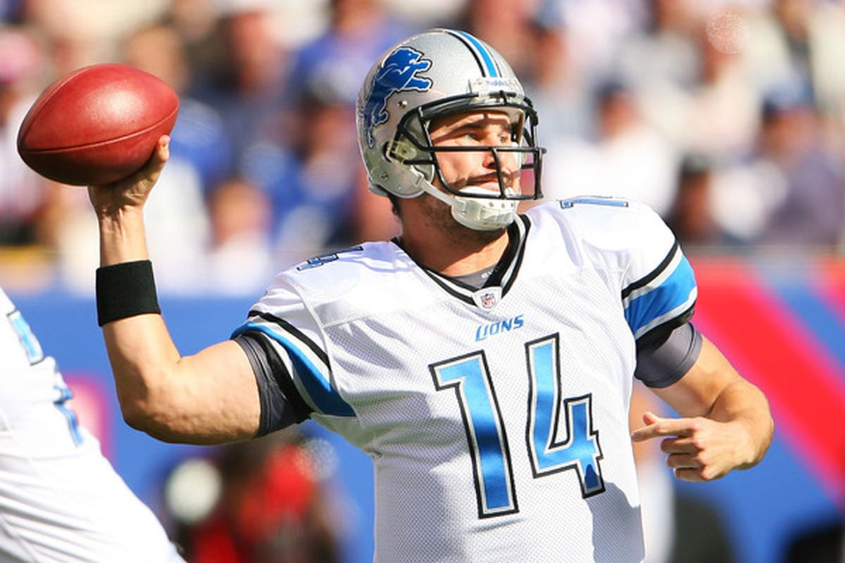 EAST RUTHERFORD NJ - OCTOBER 17:  Shaun Hill #14 of the Detroit Lions drops back to pass against the New York Giants at New Meadowlands Stadium on October 17 2010 in East Rutherford New Jersey.  (Photo by Andrew Burton/Getty Images)