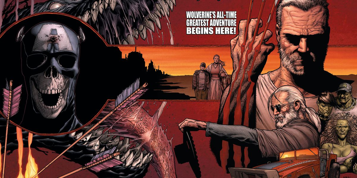 Old Man Logan pops his claws, in a collage of characters and events from the Old Man Logan miniseries, on the cover of Wolverine #66, Marvel Comics (2008).