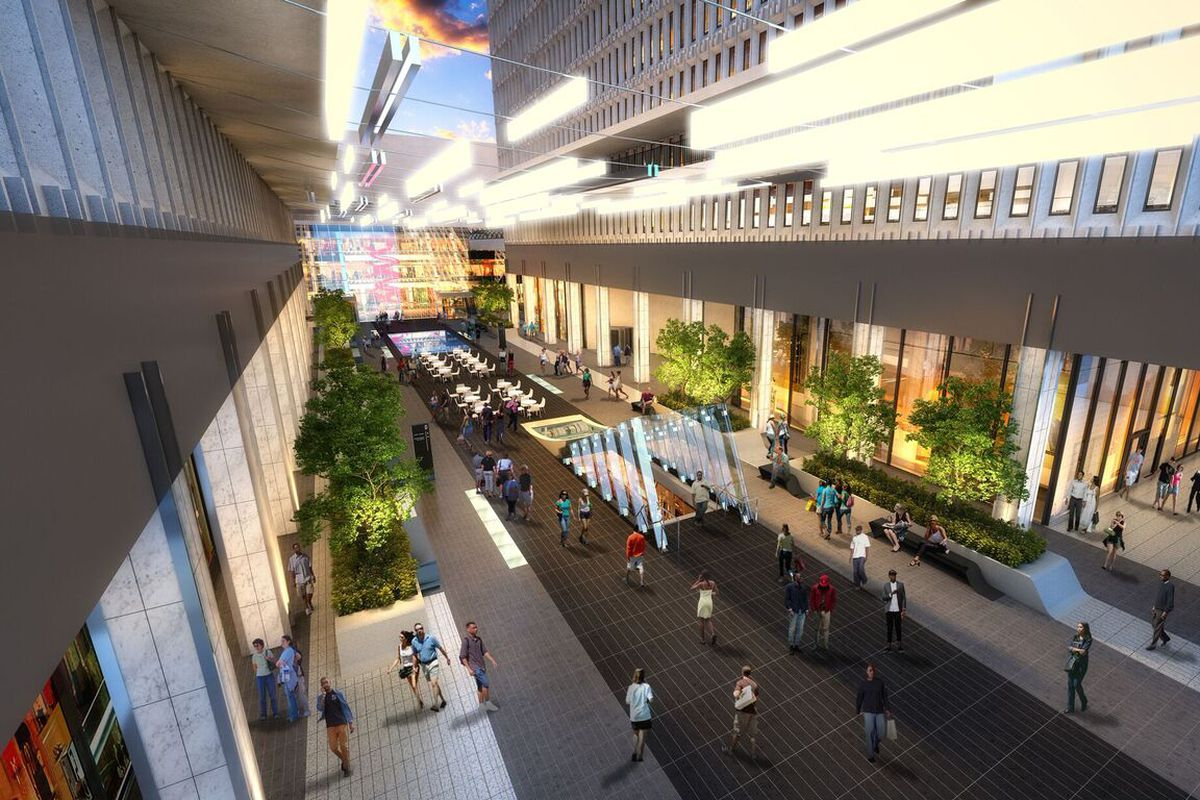 """A rendering of the opened-up courtyard, which is aiming for a """"town square"""" feel off Peachtree Street."""
