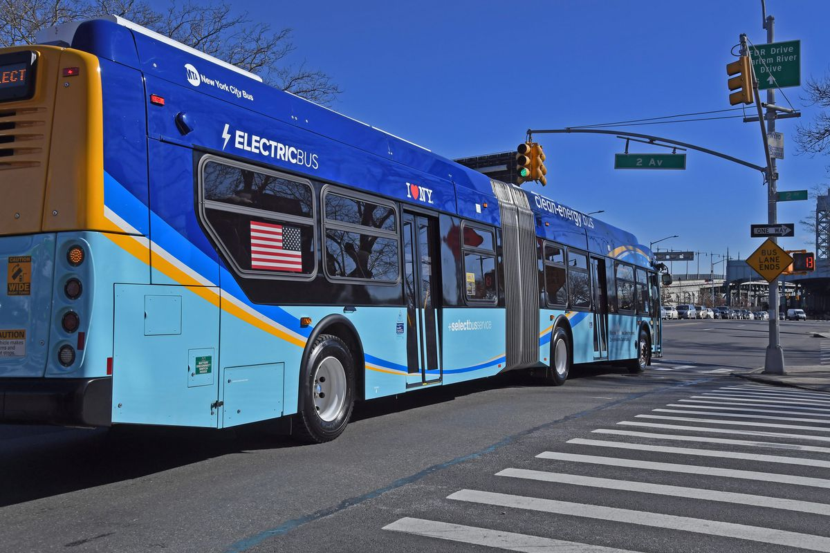 The delivery of electric articulated buses like the one pictured, has been delayed because of  temporary factory shutdowns.