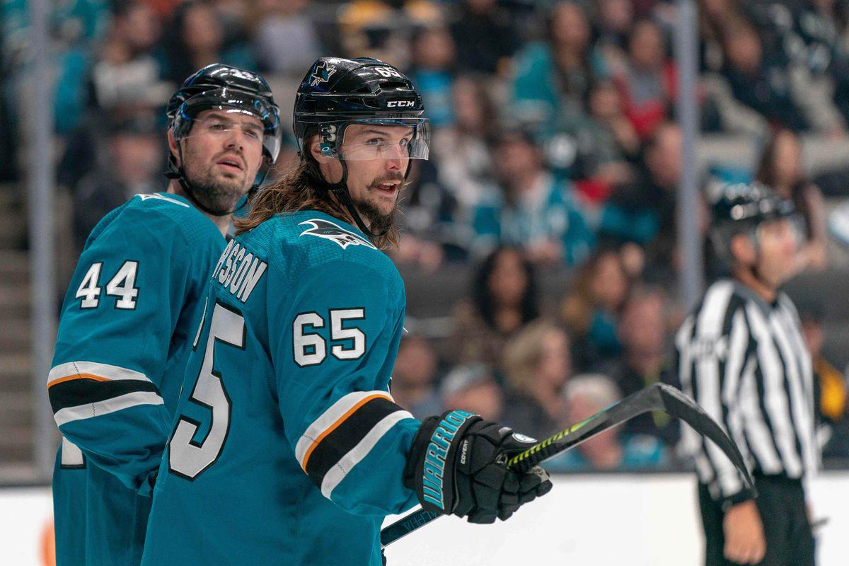 Feb 18, 2019; San Jose, CA, USA; San Jose Sharks defenseman Erik Karlsson (65) reacts after the penalty call during the second period against the Boston Bruinsat SAP Center at San Jose.