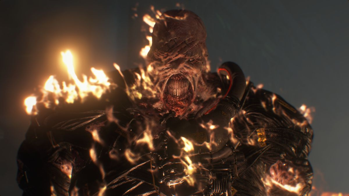 Nemesis is burning a screenshot from Resident Evil 3