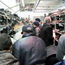 The packed menswear section on the first day of this winter's sale