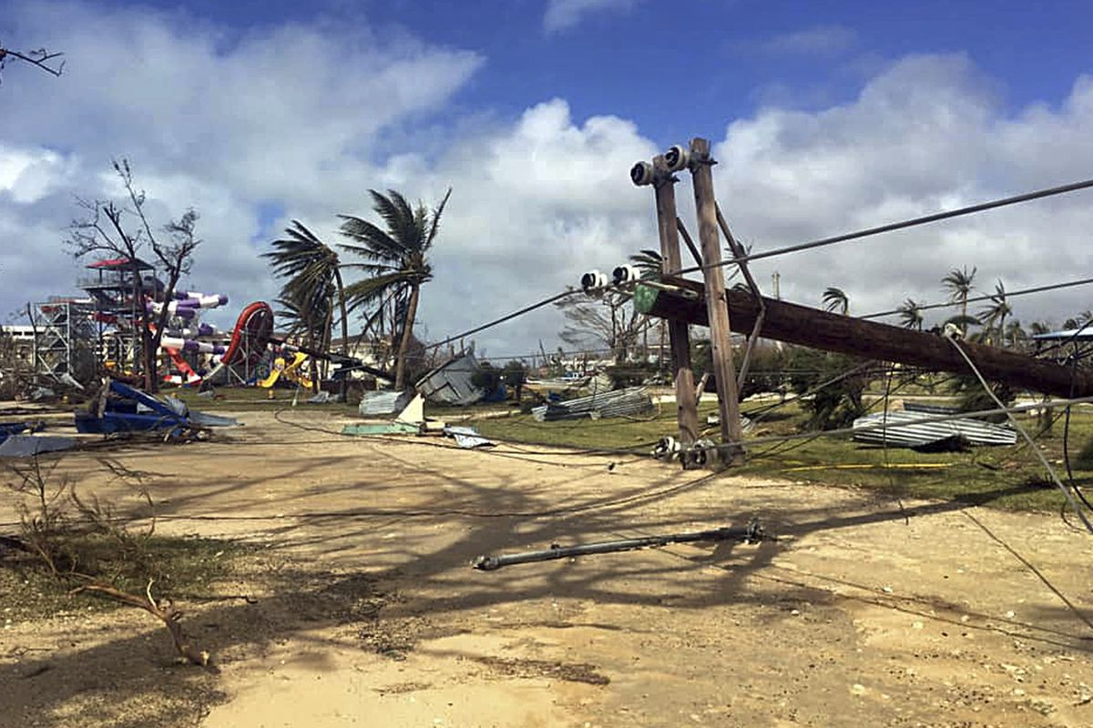 This Thursday, Oct. 25, 2018 photo taken by Amber Lee Alberts shows destruction on the island of Saipan, her home, after Super Typhoon Yutu swept through the Commonwealth of the Northern Mariana Islands earlier in the week. Gregorio Kilili Camacho Sablan,