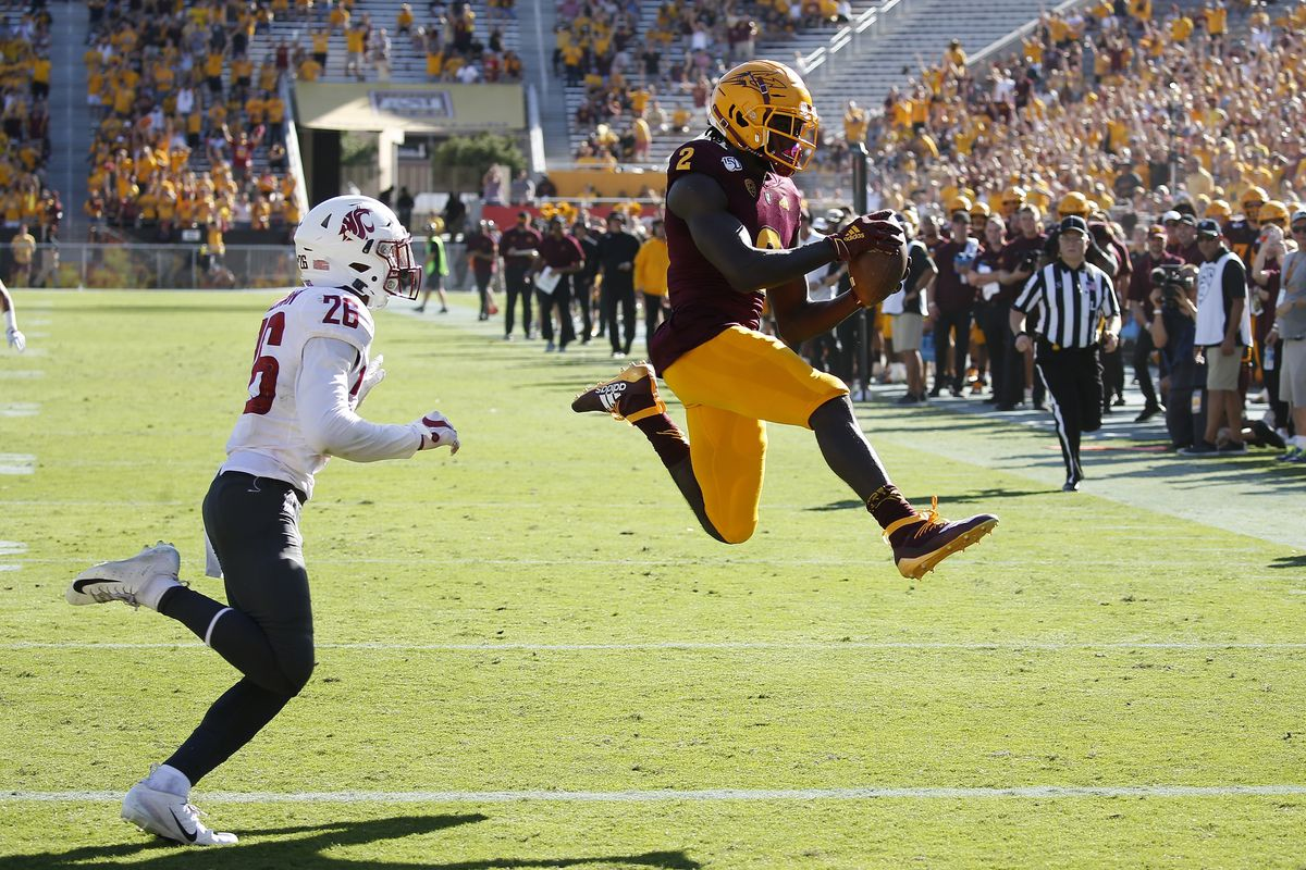 Arizona State wide receiver Brandon Aiyuk leaps for the end zone during a game against Washington State last season.