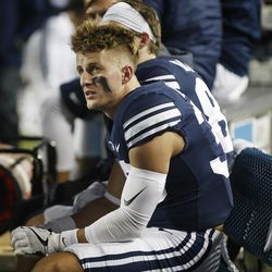 BYU wide receiver Beau Tanner (33) watches the time run out in Provo on Friday, Oct. 6, 2017.