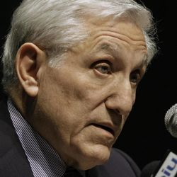Federal Judge James Zagel speaks at Eastern Illinois University Thursday, April 19, 2012 in Charleston, Ill. Zagel, who sentenced former Illinois Gov. Rod Blagojevich to 14 years in prison, says he doesn't believe the public has entirely lost faith in government.