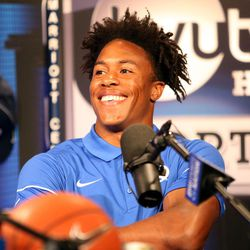 Wide receiver Jonah Trinnaman laughs before an interview during BYU Football Media Day at BYU Broadcasting in Provo on Friday, June 23, 2017.